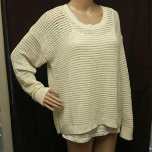 MADEWELL Cotton Crochet Hi Lo Sweater